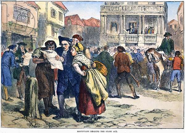 BOSTON: STAMP ACT, 1765 Bostonians reading news of the Stamp Act in August in 1765: coloured  engraving, 19th century.