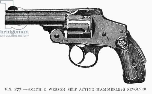 SMITH & WESSON REVOLVER Smith & Wesson's hammerless safety revolver. Line engraving, 19th century.