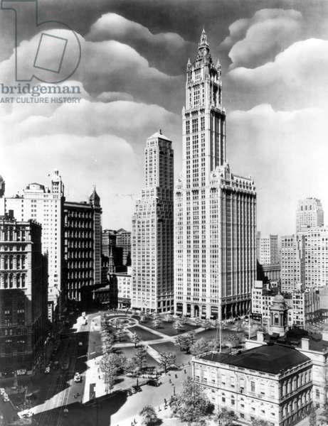 WOOLWORTH BUILDING, 1939 The Woolworth Building, New York City, the world's tallest building at the time of its completion in 1913 until 1930. Photograph by Irving Underhill, 1939.