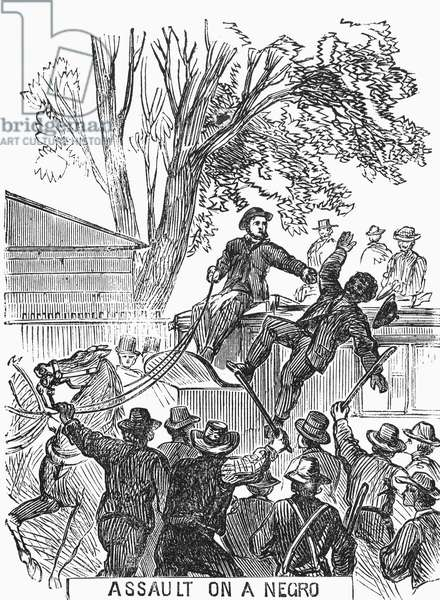 NEW YORK: DRAFT RIOTS An assault on a negro during the New York City Draft Riots of 13-16 July 1863. Contemporary American engraving.