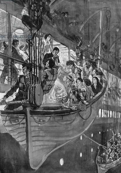 TITANIC: LIFEBOATS, 1912 Women and children being loaded into lifeboats as the 'Titanic' sank on the night of 14-15 April 1912. English illustration, 1912.