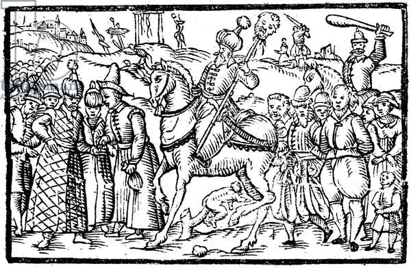 IVAN IV VASILEVICH (1530-1584) Called Ivan the Terrible. Ruler of Russia as grand duke (1533-1547) and czar (1547-1584). Ivan IV punishing prisoners. Woodcut, c.1582.