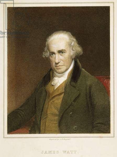 JAMES WATT (1736-1819) Scottish engineer and inventor: English coloured  engraving, 19th century.