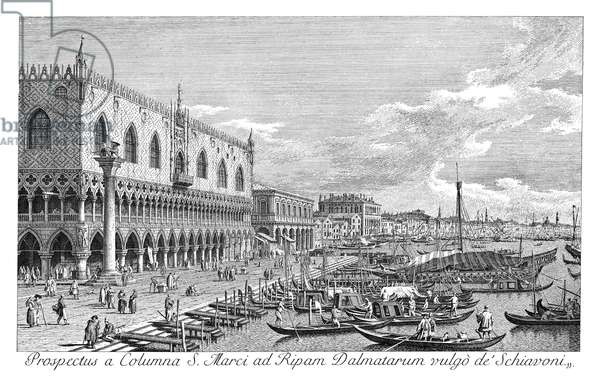 VENICE: GRAND CANAL, 1735 Riva degli Schiavoni in Venice, Italy, looking east. Engraving, 1735, by Antonio Visentini after Canaletto.