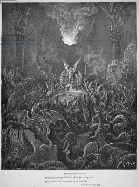 MILTON: PARADISE LOST Satan's Golden Palace, Pandaemonium, in John Milton's 'Paradise Lost.' Wood engraving after Gustave Dore.