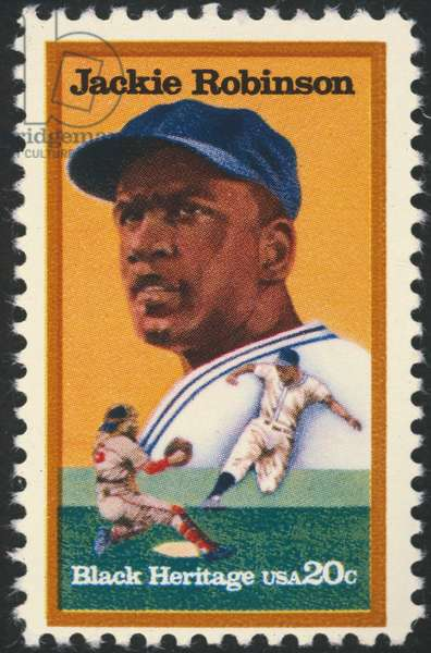 JACKIE ROBINSON (1919-1972) John Roosevelt Robinson, known as Jackie. American baseball player. On a U.S postage stamp, 1982.