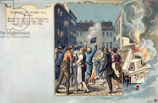 STAMP ACT RIOT, 1765 Sons of Liberty protesting the Stamp Act in Boston by burning stamps. Lithograph from a 19th century American book.