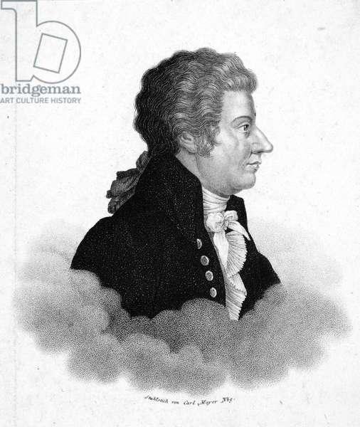 WOLFGANG AMADEUS MOZART (1756-1791). Austrian composer. Aquatint, German, c.1840.