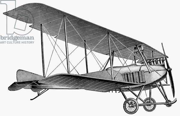 GERMAN AIRPLANE, 1913 German military biplane. German engraving, 1913. Decorative Cut.
