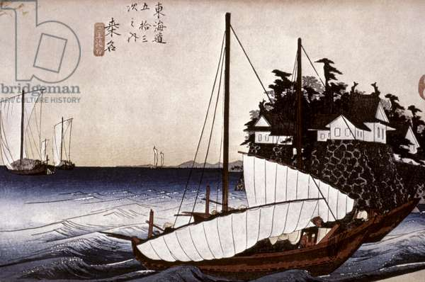 HIROSHIGE: FERRY, 1834 Kuwana. The Mouth of the Seven-League Ferry. Japanese Oban print, 1834, by Ando Hiroshige.