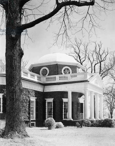 THOMAS JEFFERSON (1743-1826) Third President of the United States. Home of Thomas Jefferson at Monticello, near Charlottesville, Virginia.