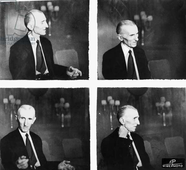 NIKOLA TESLA (1856-1943) American electrician, physicist, and inventor. Born in Croatia, of Serbian parents. Series of photographs of Tesla taken during an interview on the occasion of his 79th birthday, 1935.