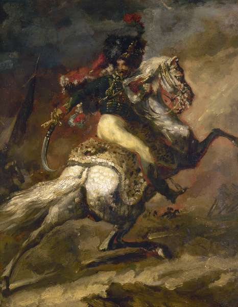 GERICAULT: IMPERIAL GUARD An officer of the Imperial Guard of the Grand Army under Napoleon Bonaparte. Sketch, c.1800, by Theodore Gericault.
