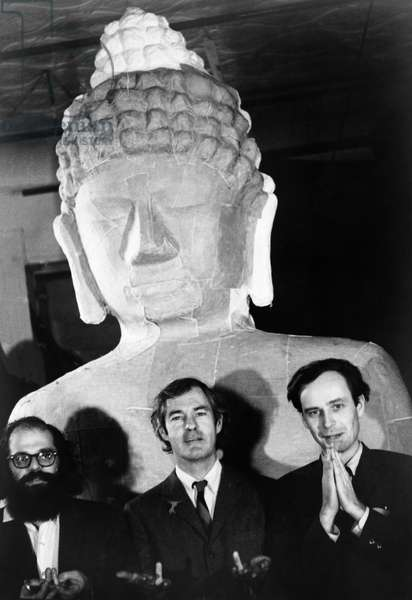 ALLEN GINSBERG (1926-1997) American author and poet. Photographed with Timothy Leary and Ralph Metzner, preparing for a 'psychedelic celebration' at the Village Theater in New York City, c.1967.