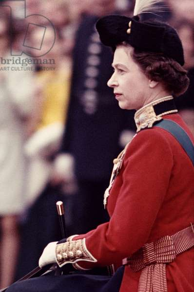 QUEEN ELIZABETH II (1926- ) Queen of England, 1952- , at Trooping the Colour.