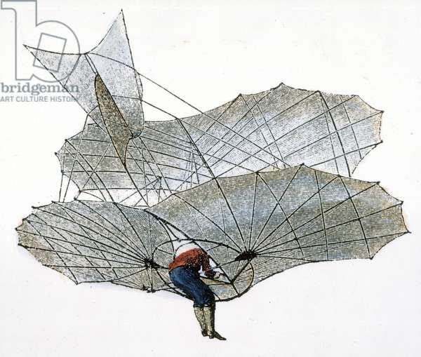 OTTO LILIENTHAL (1848-1896) One of Otto Lilienthal's early glider flights: engraving, late 19th century.