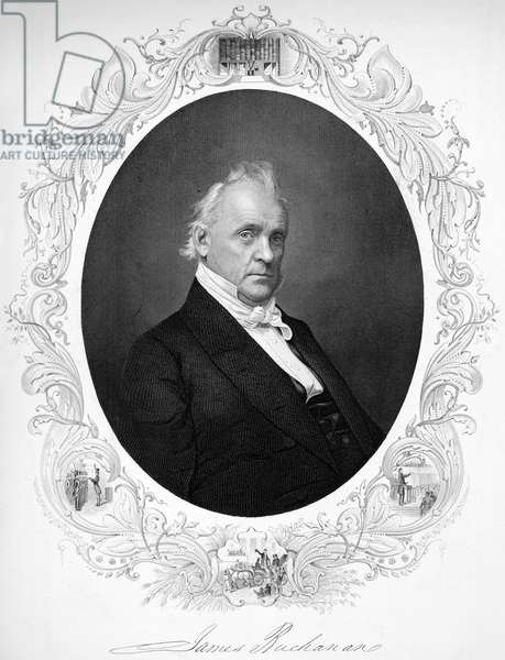 JAMES BUCHANAN (1791-1968) Fifteenth President of the United States. Steel engraving, 1857.