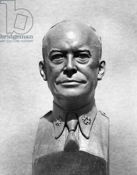 DWIGHT D. EISENHOWER  (1890-1969). 34th President of the United States. Photograph of a bust by sculptor Archimedes Giacomantonio, 1945.