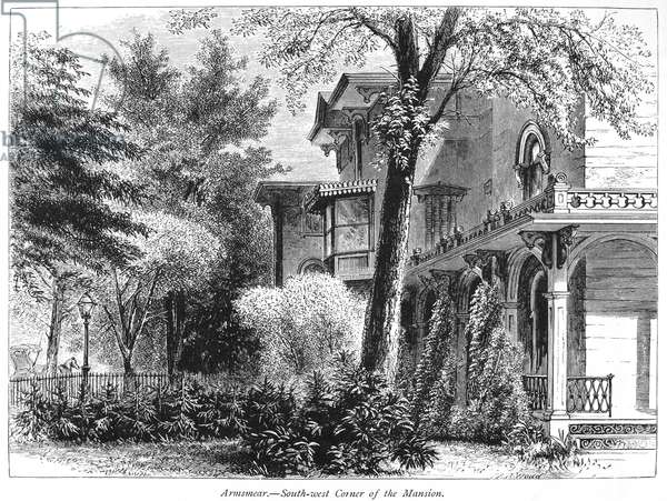 HARTFORD: ARMSEAR MANSION 'Armsmear,' the Samuel Colt mansion at Hartford, Connecticut. Wood engraving, c.1876.