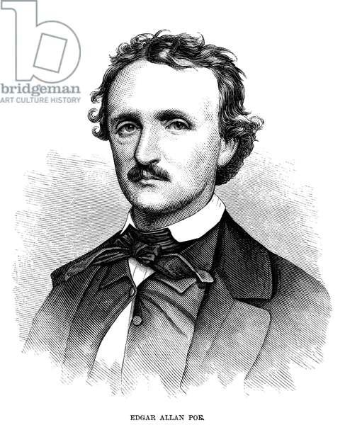 EDGAR ALLAN POE (1809-1849) American writer. Wood engraving, 1875.