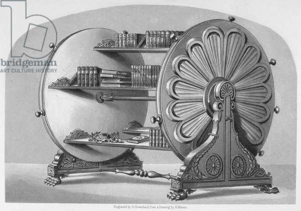 REVOLVING BOOKCASE Steel engraving, 19th century.