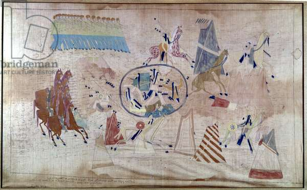 NATIVE AMERICAN RESERVATION 'Muster Day, at the Agency.' A peaceful display by Native American warriors on a reservation. Gouache and wash on paper by Paul Frenzeny, 1873-80.