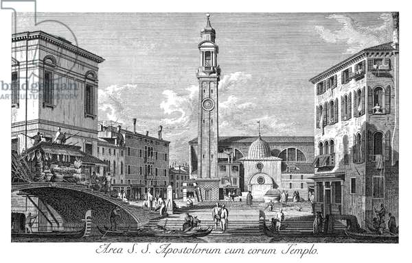 VENICE: SANTI APOSTOLI Campo Santi Apostoli in Venice, Italy, with the canal Rio dei SS. Apostoli in the foreground. Engraving, 1735, by Antonio Visentini after Canaletto.