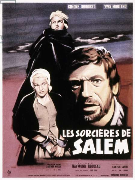 THE CRUCIBLE POSTER, 1957 French movie poster, 1957, for 'Les Sorcières de Salem,' an adaptation of Arthur Miller's play 'The Crucible,' with screenplay by Jean-Paul Sartre.