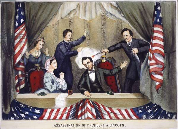 LINCOLN ASSASSINATION The assassination of Abraham Lincoln by John Wilkes Booth at Ford's Theatre, Washington D.C., 14 April 1865. Contemporary lithograph.