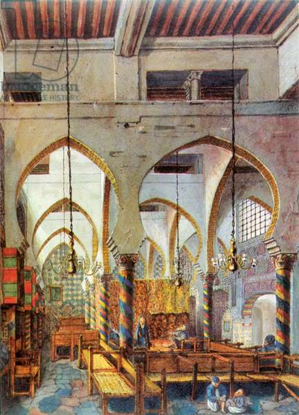 SYNAGOGUE IN ALGIERS, c.1830 A synagogue at Algiers, Algeria, built in the style of a mosque. Lithograph, c.1830.