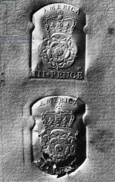 COLONIAL TAX STAMP Three pence tax stamps issued by British government for use in the American colonies.