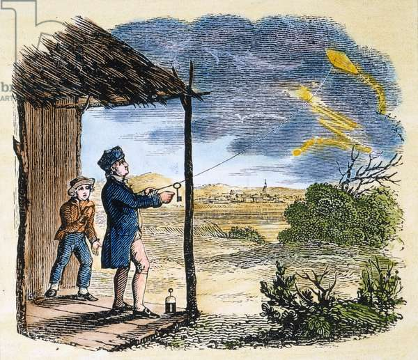 BENJAMIN FRANKLIN (1706-1790). American printer, publisher, scientist, inventor, statesman and diplomat Franklin, assisted by his son William, proving the identity of lightning and electricity by his celebrated kite and key experiment of June 1752. Color engraving, American, 19th century.