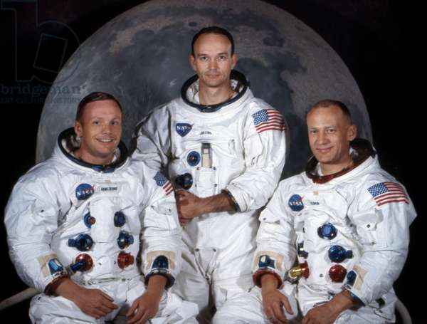 APOLLO 11: ASTRONAUTS, 1969 Apollo 11 astronauts Neil Armstrong, Michael Collins, and Edwin 'Buzz' Aldrin. Photograph, 1969.