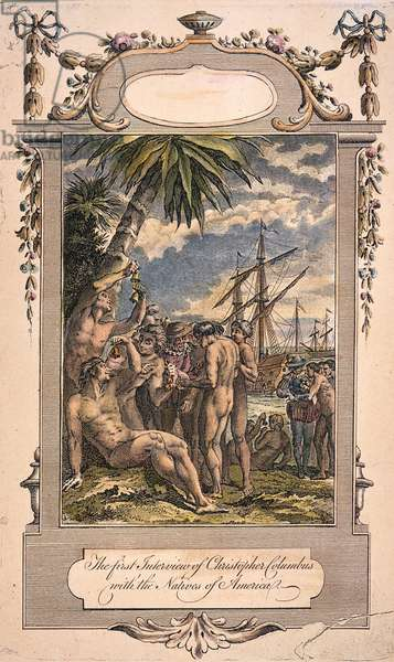 COLUMBUS: NATIVE AMERICANS The First Interview of Christopher Columbus with the Natives of America (1492): English engraving, 18th century.