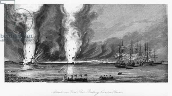 FIRST OPIUM WAR, 1841 Battle of First Bar in the Canton River in China during the First Opium War, 27 February 1841. Engraving, 1843.