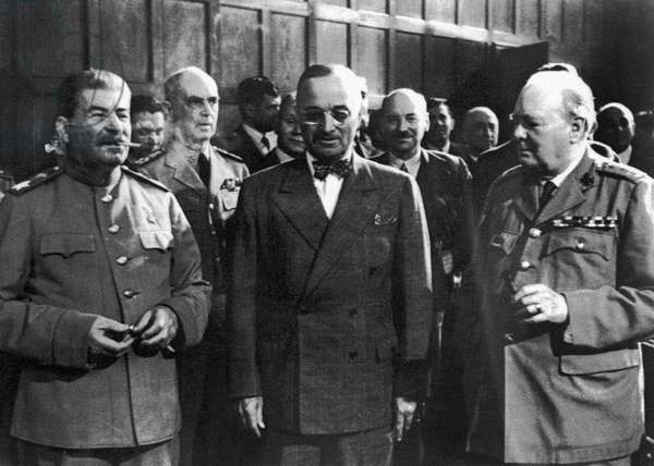 POTSDAM CONFERENCE, 1945 Allied leaders at the Potsdam Conference in Berlin, Germany, July 1945. Left to right: Soviet Premier Joseph Stalin, American President Harry Truman and British Prime Minister Winston Churchill.