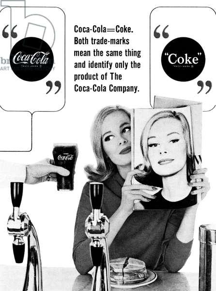 AD: COCA-COLA, 1964 American advertisement for Coca-Cola. Photograph, 1964.