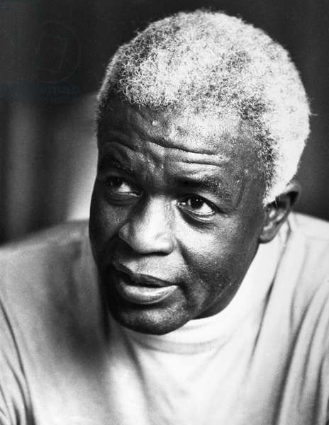 JACKIE ROBINSON (1919-1972) American baseball player. Photographed in retirement at his home in Stamford, Connecticut, 27 June 1971.