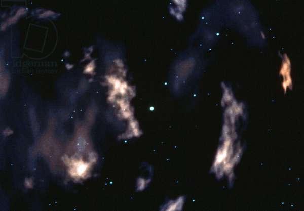 SUPERNOVA REMNANTS Remnants of matter in space after a supernova explosion. Illustration by Dana Berry for NASA, c.1990.