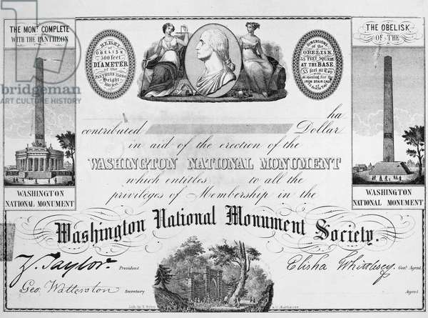 WASHINGTON MONUMENT, 1850 Certificate of membership and thanks to a contribution to the Washington National Monument Society. Lithograph, c.1850.