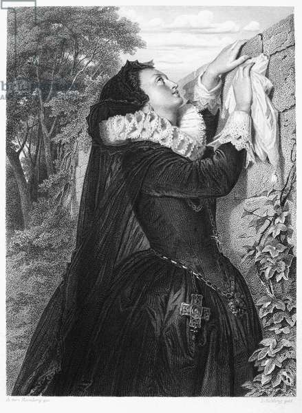 FRIEDRICH SCHILLER (1759-1805). Johann Christoph Friedrich von Schiller. German poet and playwright. Mary, Queen of Scots (1542-1587) signing her abdication in a scene from Schiller's 1800 drama 'Maria Stuart.' Steel engraving, German, 19th century.