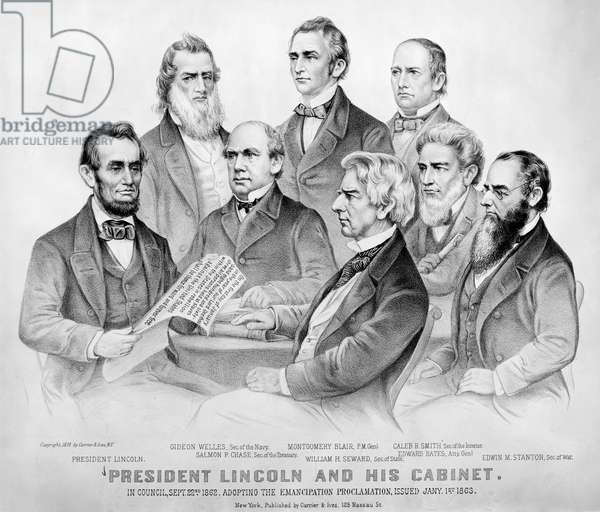 EMANCIPATION PROCLAMATION President Lincoln and his Cabinet in council, 22 September 1862. Adopting the Emancipation Proclamation, issued 1 January 1863. Lithograph by Currier & Ives, 1876.