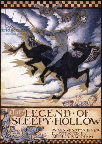 Front cover of 'The Legend of Sleepy Hollow,' by Washington Irving, 1928 (colour litho)