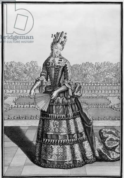 MARIE ADELAIDE OF SAVOY (1685-1712). Princess of Savoy and Piedmont and Duchess of Burgundy; mother of King Louis XV of France. Line engraving, c.1700.
