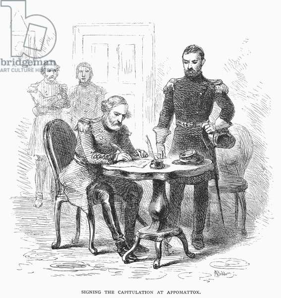 LEE'S SURRENDER, 1865 The surrender of General Lee to General Grant at Appomattox Court House, Virginia, 9 April 1865. Wood engraving, 19th century.