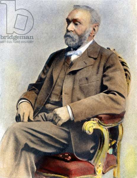 ALFRED NOBEL (1833-1896) Swedish chemist and engineer. Oil over a photograph.