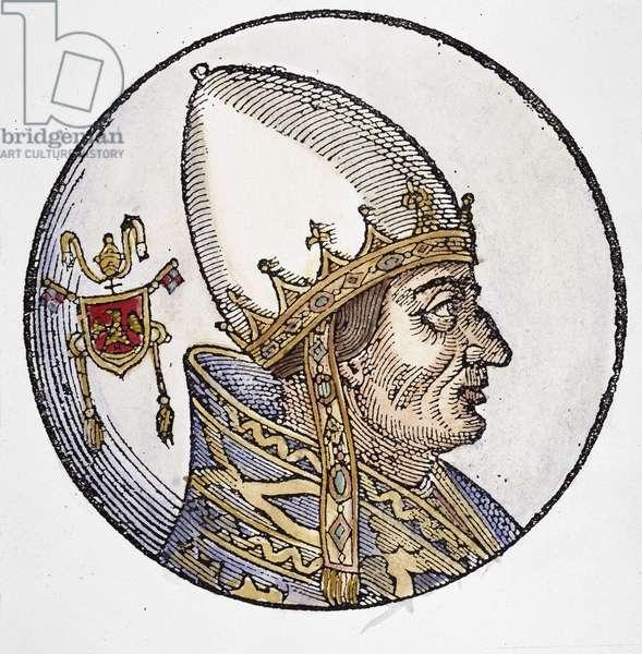 INNOCENT III (1161-1216) Pope, 1198-1216. Woodcut, Venetian, 1592.