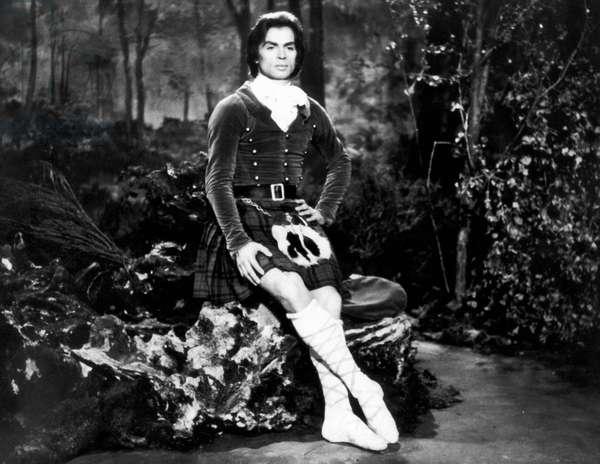 RUDOLF NUREYEV (1938-1993) Russian ballet dancer. Costumed for 'La Sylphide' in a scene from the film, 'I Am a Dancer,' 1973.