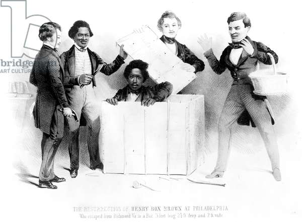 UNDERGROUND RAILROAD, 1850. The escape of Henry Brown from Richmond to Philadelphia via Adams' Express, in a box labelled 'This side up with care'; Frederick Douglass is second from left. Lithograph, 1850.