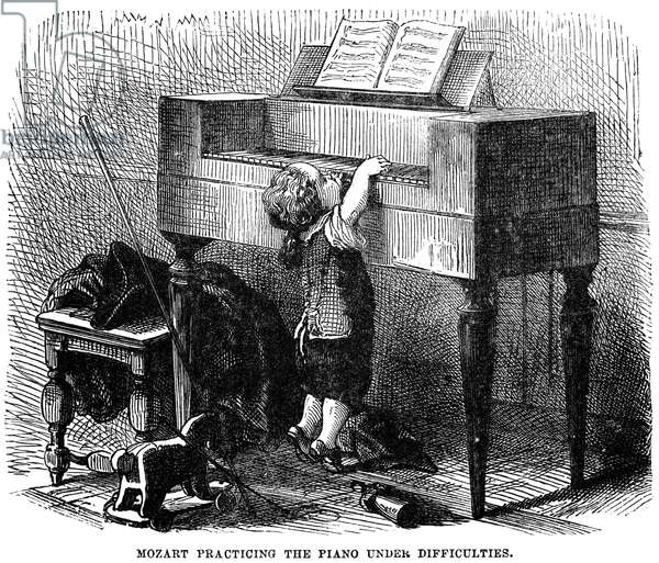 WOLFGANG AMADEUS MOZART (1756-1791). Austrian composer. Young Mozart practicing the piano under difficulties. Engraving, 19th century.